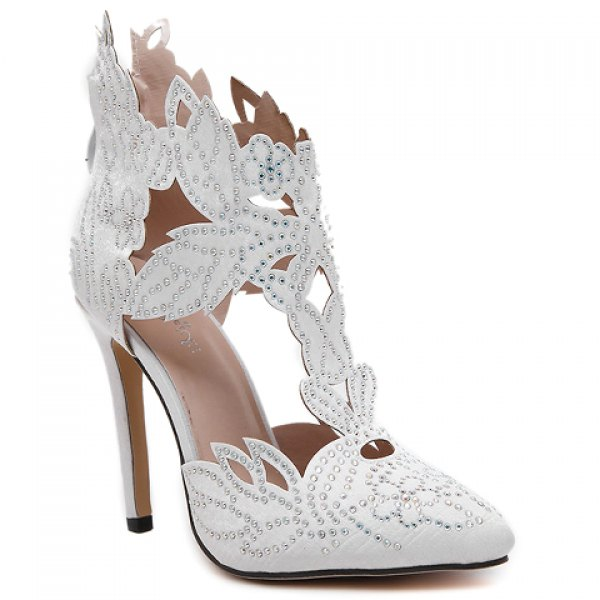 Fashion Hollow Out and Rhinestones Design Pumps For Women | NastyDress.com