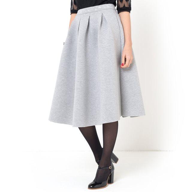 Юбка-миди из неопрена с поясом с украшением Mademoiselle R | купить в интернет-магазине La Redoute