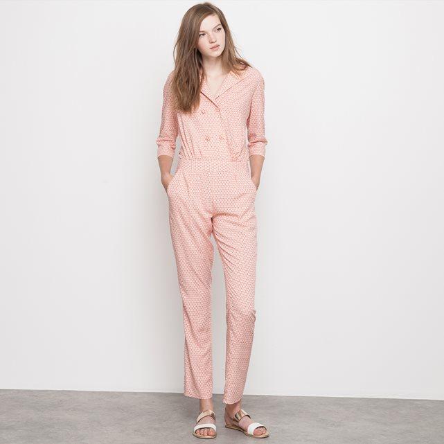 Комбинезон с брюками струящийся наб. рисунок/ розовый Mademoiselle R | купить в интернет-магазине La Redoute