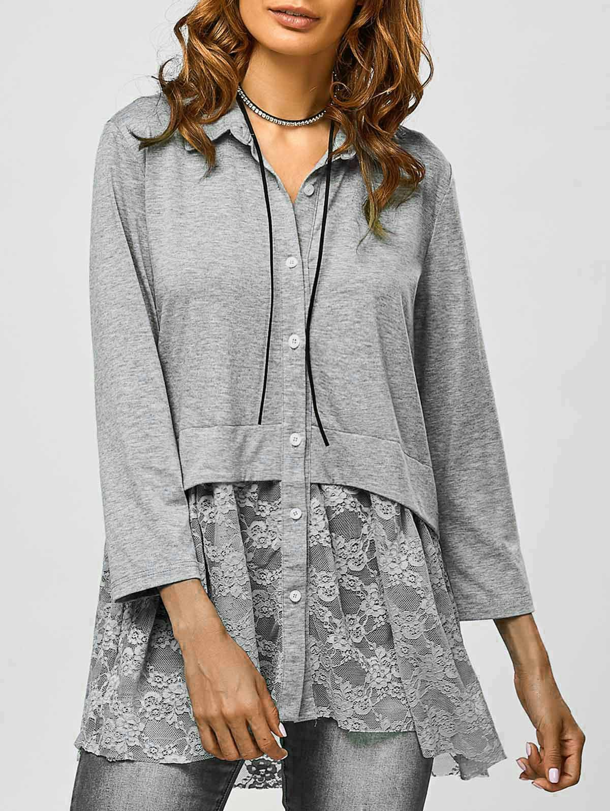 Lace Hem Design Smock Blouse in Gray | Sammydress.com